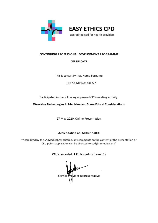 Sample Certificate - Wearables